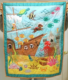Ocean Quilt Nautical Blanket Shipwreck Panel by DeMossDesigns, $40.00
