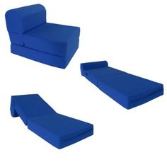Royal Blue Sleeper Chair Folding Foam Bed Sized Thick X Wide X Long, Studio  Guest Foldable Chair Beds, Foam Sofa, Couch, High Density Foam Pounds.