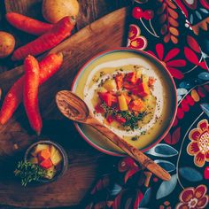 Creamy potato soup with veggies