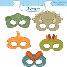 Dinosaurs Printable Masks dinosaur mask por HappilyAfterDesigns