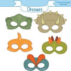 Dinosaurs Printable Masks dinosaur mask por HappilyAfterDesigns