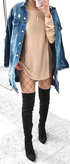 #winter #outfits grey crew-neck sweatshirt, blue-washed button-up jacket, pair of black thigh-high boots outfit