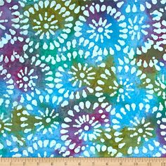 Indian Batik Sarasota Circles Blue/Purple from @fabricdotcom  From Textile Creations, this Indian batik is perfect for quilting, apparel and home decor accents. Colors include white, shades of green, shades of blue, shades of purple, and shades of orange.