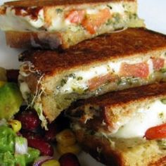 Mozzarella, Tomato, Pesto, Grilled Cheese with avocado.
