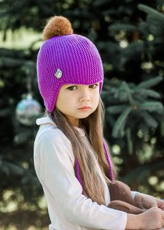 20279dc9153 Kids ear flap hat Newborn baby hat Hand knitted baby hat Baby boy knit hat  Merino wool kids hat Infant trapper winter hat knit pixie hat