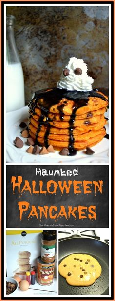 Pancakes Haunted Halloween Pancakes - This super spooky short stack of pumpkin pancakes is perfect on a haunted Halloween morning!Haunted Halloween Pancakes - This super spooky short stack of pumpkin pancakes is perfect on a haunted Halloween morning! Halloween Desserts, Hallowen Food, Soirée Halloween, Halloween Goodies, Halloween Food For Party, Halloween Cupcakes, Halloween Dinner, Halloween Crafts For Kids To Make, Cute Halloween Treats