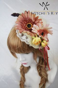 茶系のガーベラをメインにしたヘッドドレス