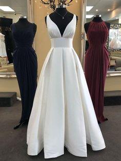 White V Neck Satin Long Prom Dresses, V Neck White Formal Evening Dresses #dress #prom #promdress #promdress2019 #prom2019 #whitepromdress #vneckdress #formaldress #eveningdress