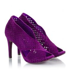 Pedro Garcia - SIARA Purple perforated suede leather high heel sandals ($385) ❤ liked on Polyvore featuring shoes, sandals, purple, slip-on shoes, slip on shoes, perforated shoes, purple sandals and pull on shoes