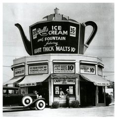 Fine Ice Cream, 1934 Cadillac parked in front