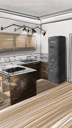 Artwork For Home Decoration Croquis Architecture, Interior Architecture Drawing, Interior Design Renderings, Architecture Concept Drawings, Drawing Interior, Interior Rendering, Interior Sketch, Office Interior Design, Interior And Exterior