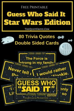 Test how well you know the original 3 Star Wars Movies with this fun printable Guess Who Said it: Star Wars Edition. It's the perfect game to play on your upcoming Disney Vacation! Family Movie Night, Family Movies, Family Games, Disney Day, Disney Games, Daily Writing Prompts, Disney Fanatic, Star Wars Party, Games To Play