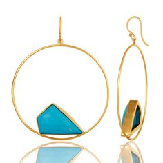 18K Yellow Gold Plated Over Brass Turquoise   Earrings