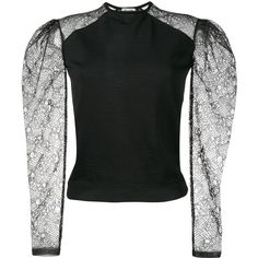 Saint Laurent lace sleeve jumper (€1.600) ❤ liked on Polyvore featuring tops, sweaters, black, jumper top, yves saint laurent, lace sleeve sweater, lace sleeve top and jumpers sweaters
