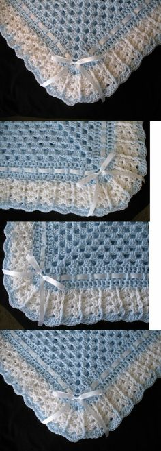 Blankets and Throws Hand-Crochet Blue And White Square Baby Blanket Afghan. Crochet Baby Blanket Free Pattern, Baby Afghan Crochet, Afghan Crochet Patterns, Crochet Granny, Easy Crochet, Crochet Stitches, Knit Crochet, Baby Afghans, Baby Blankets