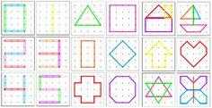Схемы для математического планшета Kids Learning Activities, Fun Learning, Toddler Activities, Geo Board, Motor Planning, Busy Boxes, Brain Breaks, My Little Baby, Card Patterns