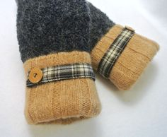 WOMENS Recycled Sweater MITTENS Dark Blue & Tan w/Plaid Band. $28.00, via Etsy.