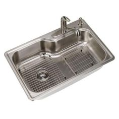 Glacier Bay All-in-One Dual Mount Stainless Steel 33 in. 2-Hole Single Bowl Kitchen Sink in Polished Stainless Steel-087341626256 - The Home Depot