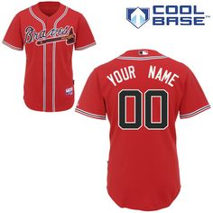 54ac07fad Braves Personalized Authentic Red MLB Jersey (S-3XL) National Games