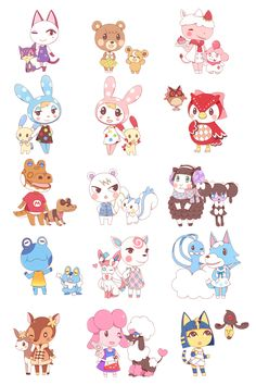 zumodelimon:  Crossover of Animal Crossing and Pokemon! I'll do more ~