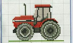 Trator Cross Stitch For Kids, Cross Stitch Baby, Counted Cross Stitch Patterns, Cross Stitch Charts, Cross Stitch Embroidery, Boys Knitting Patterns Free, Baby Knitting, Baby Barn, Animal Bag