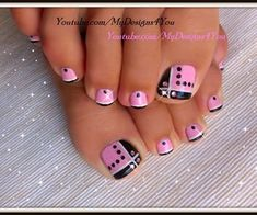 Toenail Art Design | Pink and Black Toes