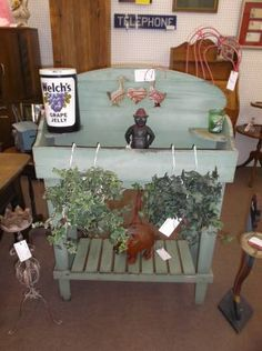 SOLD - Vintage green garden work bench - would be lovely inside or out in the garden. ***** In Booth B13 at Main Street Antique Mall 7260 E Main St (east of Power RD on MAIN STREET) Mesa Az 85207 **** Open 7 days a week 10:00AM-5:30PM **** Call for more information 480 924 1122 **** We Accept cash, debit, VISA, Mastercard, Discover or American Express