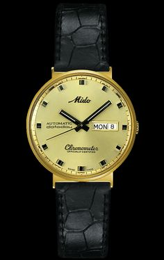 Mido Men's Commander I with yellow dial and leather band style #: M8429.6.C2.4 www.midowatch.com