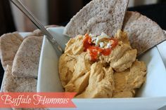 Hummus is one of my favorite foods for lunches and snacks. This buffalo style version is super easy to make and delicious with a little hot sauce and blue cheese. Delish