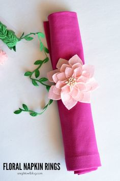 Floral Napkin Rings - make your own napkin rings in just a few easy steps! uses premade flowers and leaves