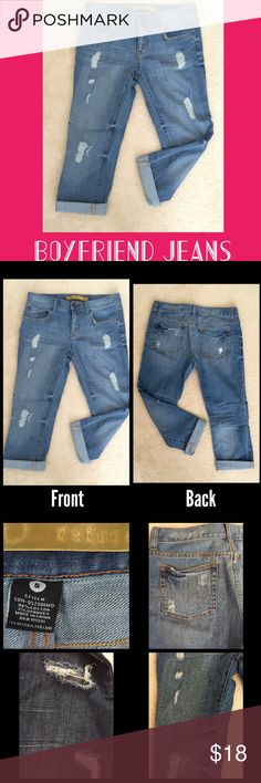 Boyfriend Jeans. Sz 5. Boyfriend Jeans-Size 5. These are ankle length & absolutely perfect for the Fall when wearing with your booties!  Distressed & perfect lighter wash color. Comfy cotton w/spandex! Barely worn & in excellent condition! refuge Pants Ankle & Cropped