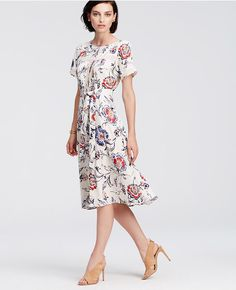 Ann taylor 39 s chiffon tie neck midi dress in navy blue for Ann taylor loft fashion island