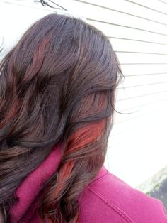 Red peekaboo haircolor