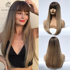 Ombre Long Brown Light Blonde Synthetic Wigs with Thin Straight Bangs for Women Brown To Blonde, Light Blonde, Blonde Ombre, Dark Brown, Body Wave Wig, Straight Bangs, Wigs With Bangs, Natural Blondes, Full Hair