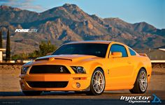 """The latest Injector Dynamics """"test mule"""" is this 2007 Ford Mustang Shelby GT500 in Grabber Orange. This 800+ HP beast is boosted by a Whipple supercharger, supported by Eibach remote-reservoir coilovers, and fitted with 19 inch Forgeline one piece forged monoblock GA1R wheels finished in Silver. See more at: http://www.forgeline.com/customer_gallery_view.php?cvk=792"""