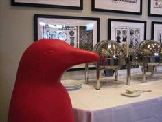 Red penguins are everywhere at Louisville's hot 21C Museum Hotel.