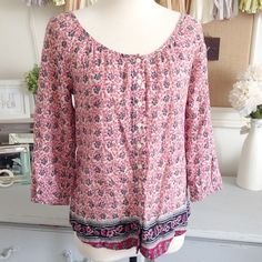 Lucky Brand Bohemian Top Purchased on posh then worn a few times. Perfect lightweight blouse for all seasons! 100% cotton. Not form fitting. Lucky Brand Tops