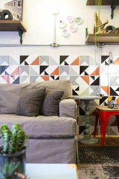 Decora Rosenbaum Temporada 3 - Garaloft. Decoração industrial, azulejos geométricos. Foto: Felipe Felco Valle