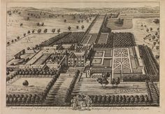 Engraving of aerial view of Rycote Park: This early eighteenth-century view of Rycote Park was produced by Leonard Knyff and Johannes Kip. It was included in the first edition of Kip's Britannia Illustrata in 1707. (MS. Gough maps 26, fol. 70). Photo credit: Bodleian Libraries, University of Oxford.