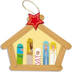 Crèche de Noël en bâtons de bois                                                                                                                                                                                 Plus Popsicle Stick Christmas Crafts, Photo Christmas Ornaments, Popsicle Crafts, Christmas Crafts For Kids To Make, Christmas Nativity, Christmas Wood, Craft Stick Crafts, Christmas Projects, Holiday Crafts