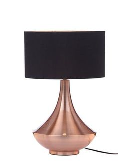 Uniquely shaped table lamp with a copper base and a black shade. Part of the Concrete and Rose Gold trend. Dimensions: x Weight: Bulb not included. Living Room, Concrete, Table Lamp, Bulb, Novelty Lamp, Copper, Home Decor, Shades Of Black, Metal