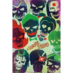 DC Comics Suicide Squad Faces Poster Hot Topic ❤ liked on Polyvore featuring home, home decor, wall art, dc comics movie posters, skull home accessories, skull wall art, skull home decor and skull poster