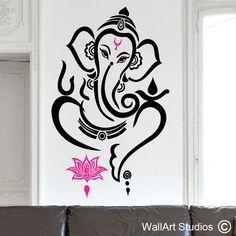 Ganesha wall art vinyl sticker - Hinda God wall art decal - Get more religious designs here! Ganesha Drawing, Lord Ganesha Paintings, Lord Shiva Painting, Ganesha Art, Ganesh Statue, Simple Wall Paintings, Wall Painting Decor, Mural Wall Art, Mandala Design