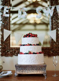Wedding Cake with Fresh Berries | See more of this wedding on Style Me Pretty here: http://www.StyleMePretty.com/2014/03/05/romantic-wedding-at-san-ysidro-ranch Photography: Elizabeth Messina
