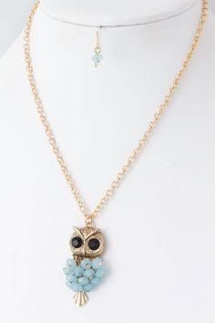 Sky Blue Owl Necklace Set on Emma Stine Limited