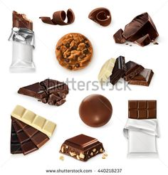 Chocolate, vector icon set. Different kinds of cacao products: energy bar, candy, chocolate pieces, slices, shavings, cookie. Delicious collection for dessert, advertising illustration for sweet shop - stock vector