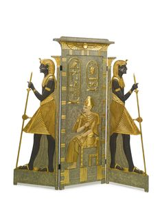 AN EGYPTOMANIA POLYCHROME DECORATED THREE FOLD SCREEN cairo, circa 1925 -  decorated on both sides with a seated pharaoh attended by guards height 69 1/2 in.; width 69 in. 176 cm; 175 cm