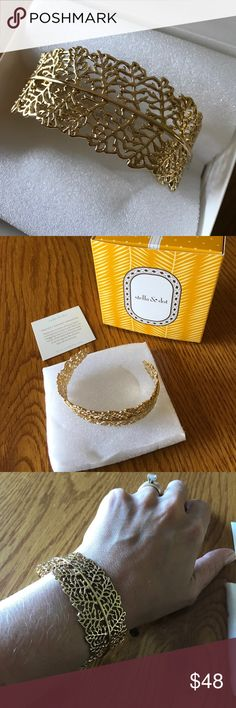 """NIB Stella & Dot """"Grace"""" Cuff Bracelet Gorgeous cuff bracelet from Stella & Dot! This gold plated """"Grace Cuff"""" is brand new, with gift box! (Only worn for the pic above.) A special piece to accent any outfit! (Comes from a smoke free home.) Thank you for looking, and happy shopping! Stella & Dot Jewelry Bracelets"""