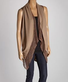 Look what I found on #zulily! Brown & Coffee Lace Linen-Blend Vest #zulilyfinds