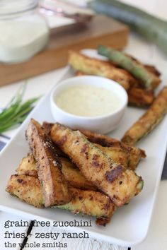 Grain-Free Zucchini Fries + Zesty Ranch Dip from the Whole Smiths. A light and heart-healthy way to fry up your veggies! Paleo-friendly, vegetarian and gluten-free. Best Paleo Recipes, Whole 30 Recipes, Real Food Recipes, Veggie Recipes, Primal Recipes, Alkaline Recipes, Side Recipes, Drink Recipes, Yummy Recipes